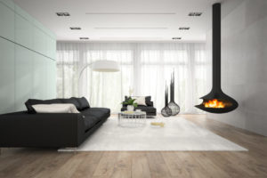Interior of modern room with fireplace 3D rendering